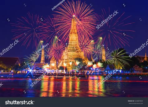 new year in thailand bangkok new year countdown fireworks wat stock photo