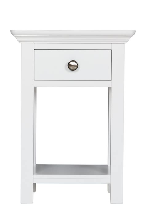 Small White Bedside Cabinet Reims White Painted Furniture 1 Drawer Bedside Cabinet