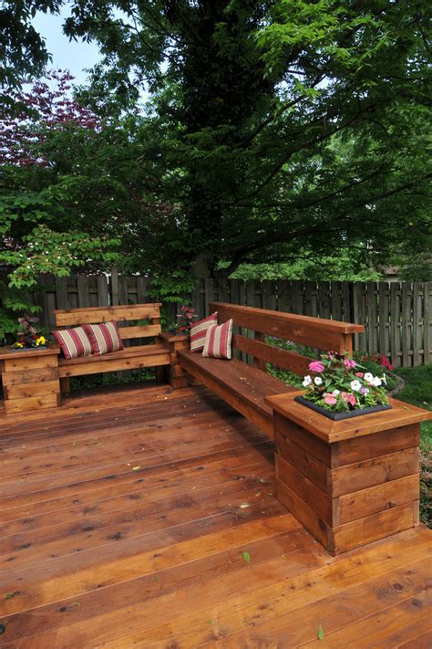 built in bench on deck stupefying diy planter box decorating ideas