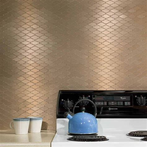 Kitchen Backsplash Peel And Stick Tiles by Aspect Wavelength Champagne Matted Backsplash
