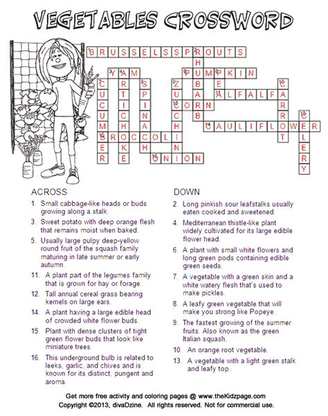 printable crossword puzzles vegetables answers vegetables crossword free printable learning