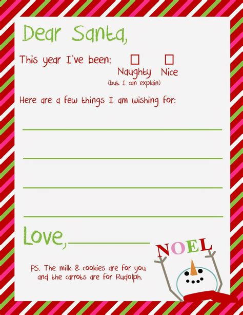 dear santa letter printable delightfully noted