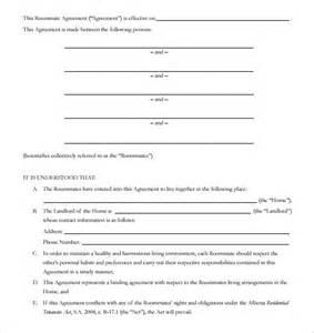 roommate rental agreement template sle roommate rental agreement 14 free documents in
