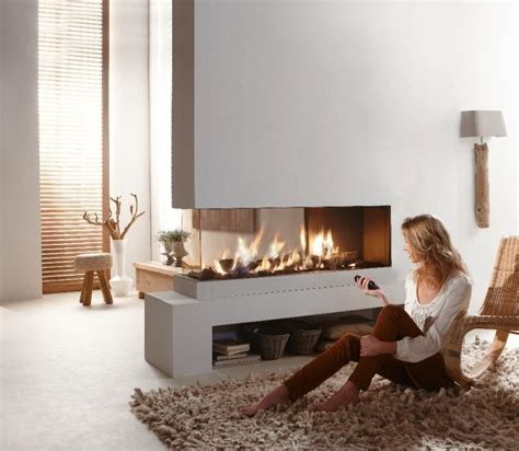 contemporary dual aspect fireplace interior design ideas