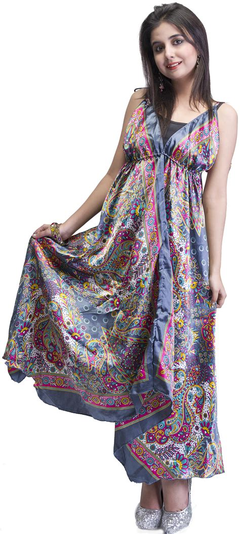 Dress Stj gray printed halter neck summer dress