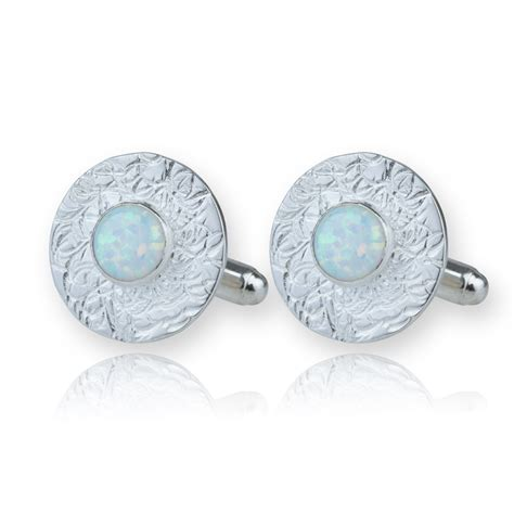 Handmade Sterling Silver Jewellery Uk - silver etched cufflinks white opals lavan designer jewelle