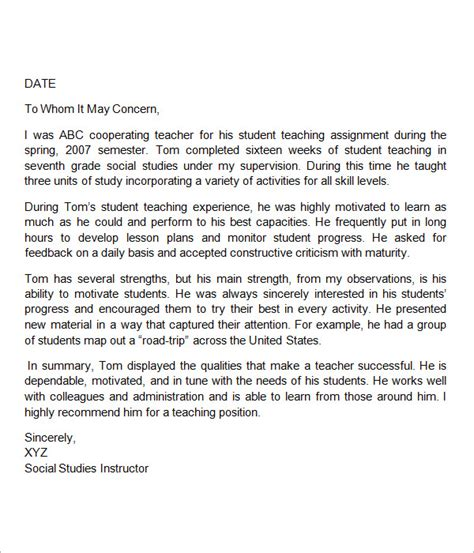 Reference Letter Format For Teachers Sle Letters Of Recommendation For 12
