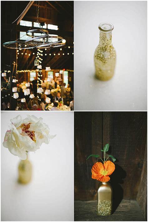 rustic glamour wedding ideas gold glitter barn wedding