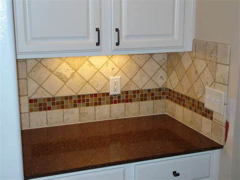 Tile Accents For Kitchen Backsplash Tumbled Marble Backsplash Pictures