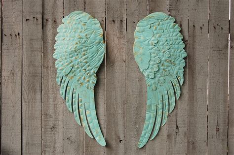 aqua angel wings wall decor   vintage artistry