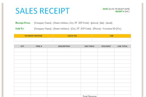 sales receipt template word 2007 sales receipt template for word dotxes