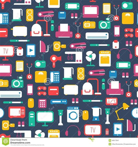 home patterns seamless pattern of electronic devices and home stock