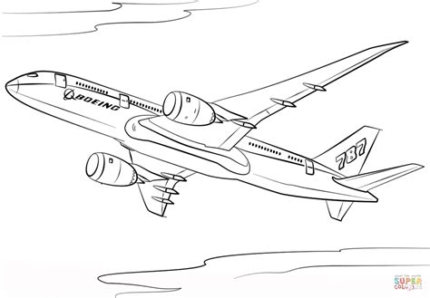 787 Coloring Page by Boeing 787 Dreamliner Coloring Page Free Printable