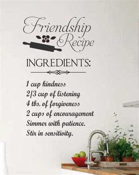 friendship recipe quote vinyl wall lettering vinyl