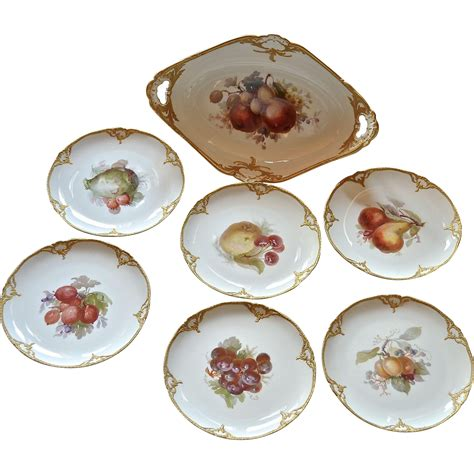 m s fruit bowl k p m fruit bowl and six plates 19th century from