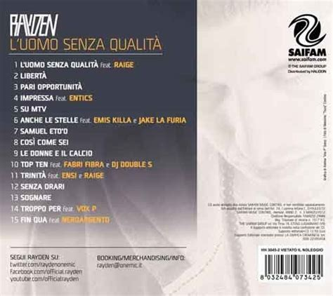 senza titoli testo l uomo senza qualit 224 rayden tracklist album 2012