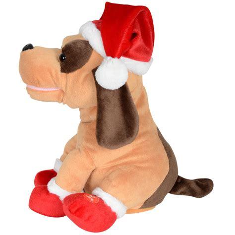 animated plush musical santa dog christmas decoration