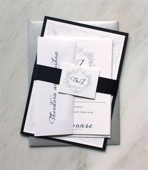 navy white and silver wedding invitations navy monogram wedding invitations modern wedding