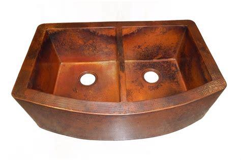 Rounded Apron Front Farmhouse Kitchen Double Bowl Mexican Copper Apron Kitchen Sink