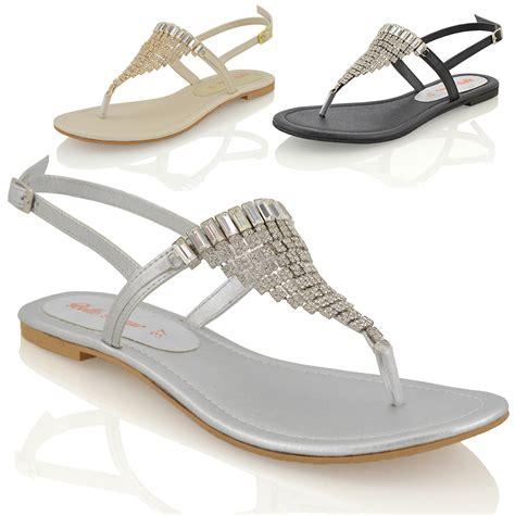sandals holidays womens flat diamante toe post slingback sparkly