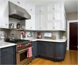 nice Two Tone Painted Kitchen Cabinets #6: white-upper-gray-lower-kitchen-cabinets.jpg