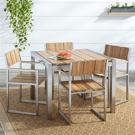 Macon 5 Piece Square Teak Outdoor Dining Table Set