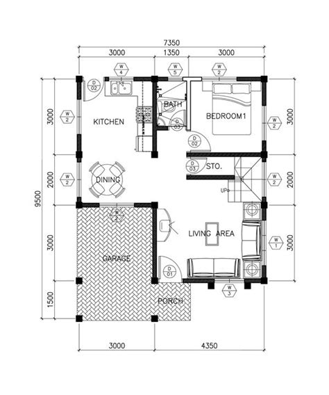 Double Story House Plan Floor Area 124 Square Meters 2 Story House Plans Open Below