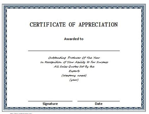 template for certificate of recognition 30 free certificate of appreciation templates and letters
