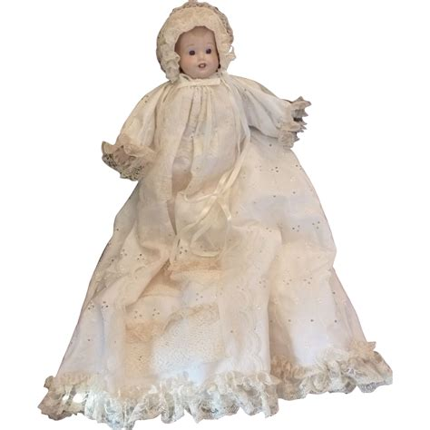 Porceline Dress christening dress with baby porcelain doll 1982 from