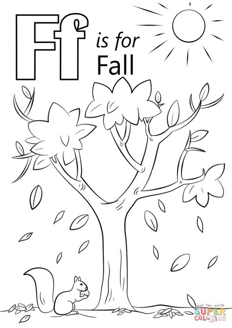 fall coloring pages for preschoolers letter f is for fall coloring page free printable