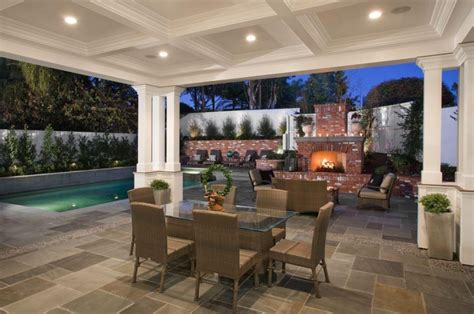 gorgeous luxury patio with small lighting on beam ceiling