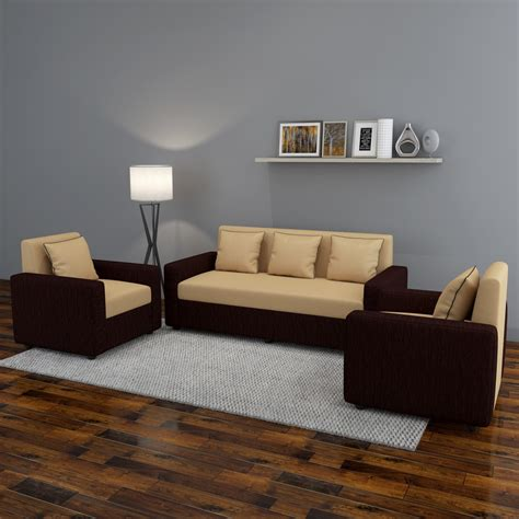 how to buy sofa set bharat lifestyle tulip311 fabric 3 1 1 brown sofa set