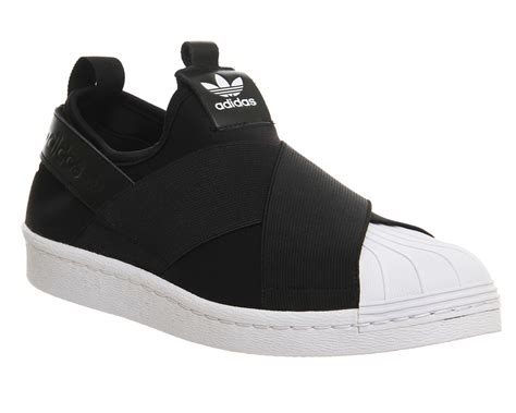 Adidas Slop Black mens adidas superstar slip on black white trainers