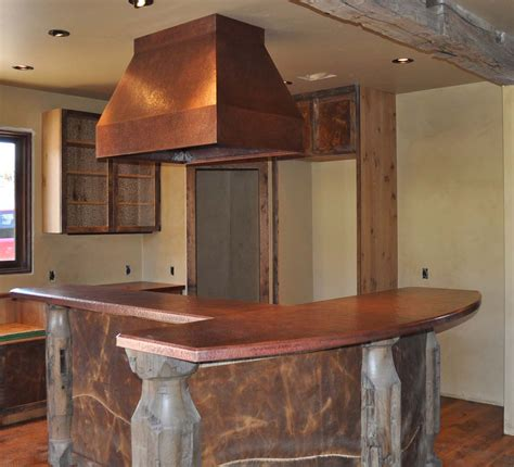 kitchen island range hoods custom copper counter tops with custom copper range