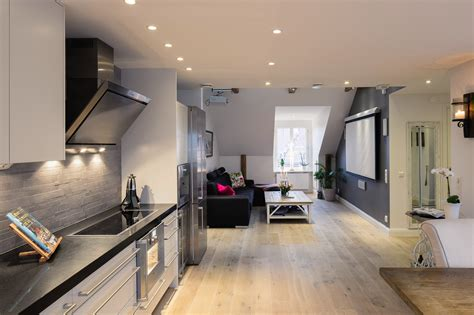 Elegant Small One Bedroom Modern Attic Apartment With ... 1 Bedroom Apartment Interior Design