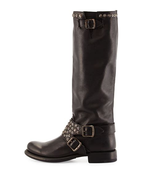frye studded boots frye studded moto boot in black lyst