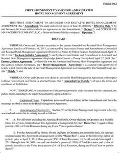 hotel management agreement contract sample contracts