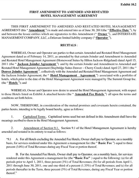 hotel management agreement contract sle contracts