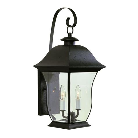 Bel Air Outdoor Lighting Bel Air Lighting Stewart 2 Light Outdoor Black Incandescent Wall Light 4971 Bk The Home Depot