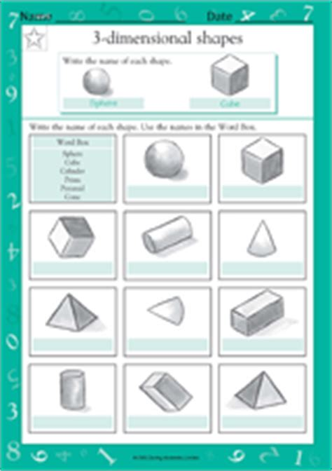 Three Dimensional Shapes Worksheets For Grade by Naming 3 Dimensional Shapes Ii Math Practice Worksheet