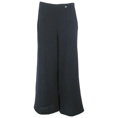 Chanel Navy Blue Wide Leg Knit Trousers For Sale At