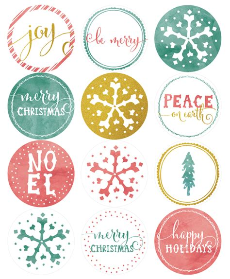 holiday labels in a watercolor amp glitter theme