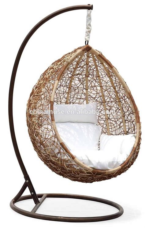 wicker swinging chair luxury indoor patio garden rattan egg shaped one person