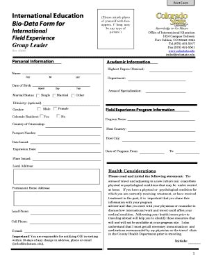 international bio data form fill printable