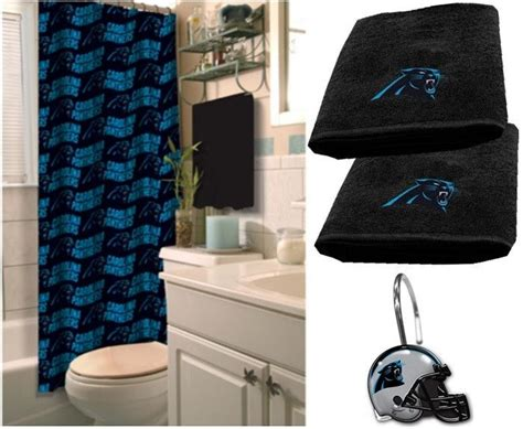 carolina panthers bathroom set carolina panthers nfl deluxe bath set at sportsfansplus