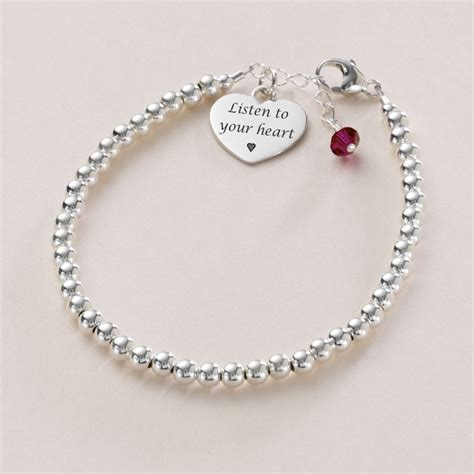 Dainty Silver Bead Bracelet with Birthstone & Engraving   Jewels 4 Girls