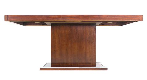Dining Table Pedestal Base Mid Century Modern Rectangular Pedestal Base Walnut Dining Table At 1stdibs