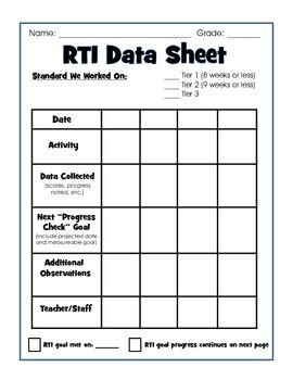 Rti Documentation Form By Engaging The Standards With Holly Ehle Rti Documentation Templates