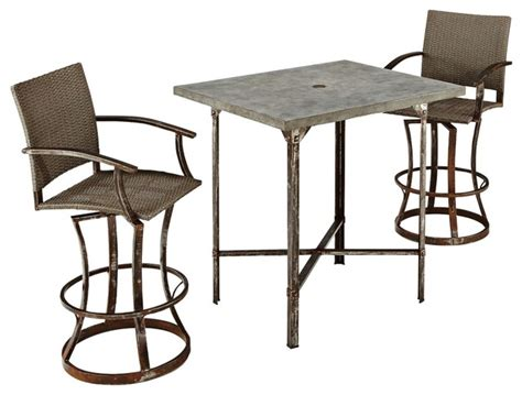 Farmhouse Patio Furniture by Rustic Lodge Collection 3 Outdoor High Dining Set Farmhouse Patio Furniture