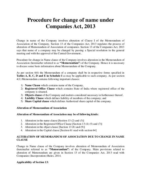 Mortgage Notification Letter Name Change How To Change Company Name As Per Companies Act 2013